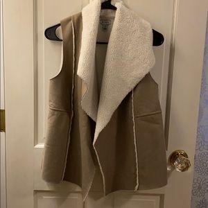 Faux suede fuzzy vest